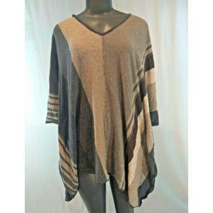 Cabi Poncho Top Medium Stripes Cotton Gray Brown